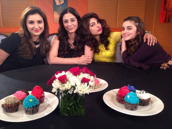 priyanka chopra :- Wonderful evening with wonderful ladies.Tabu @ParineetiChopra @aliaa08.Thk you @RajeevMasand for such a fun interview   -twitter