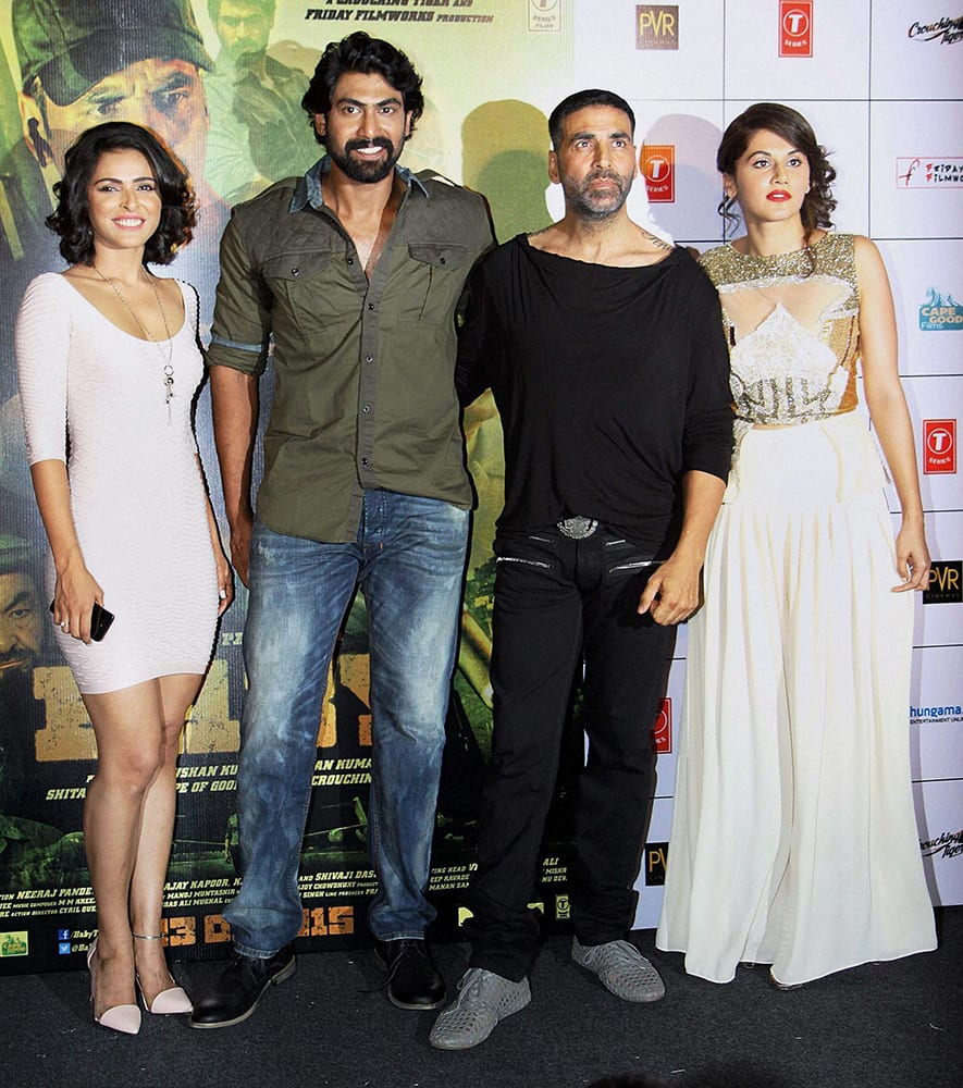 Bollywood actors Akshay Kumar, Rana Daggubati, Madhurima Tuli and Taapsee Pannu during the trailer launch of film Baby in Mumbai.