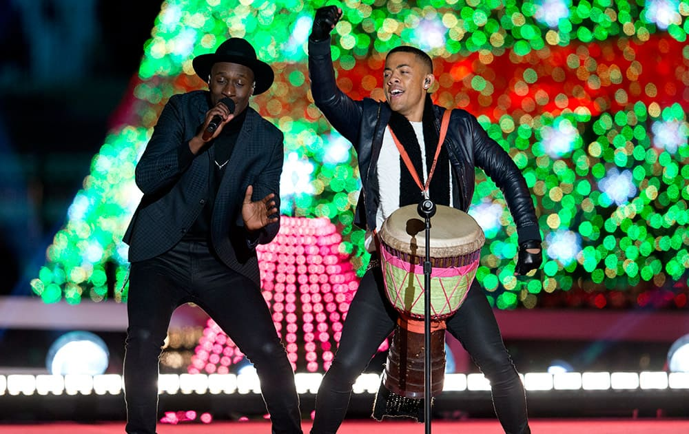 Nico & Vinz perform during the National Christmas Tree lighting ceremony at the Ellipse near the White House in Washington.