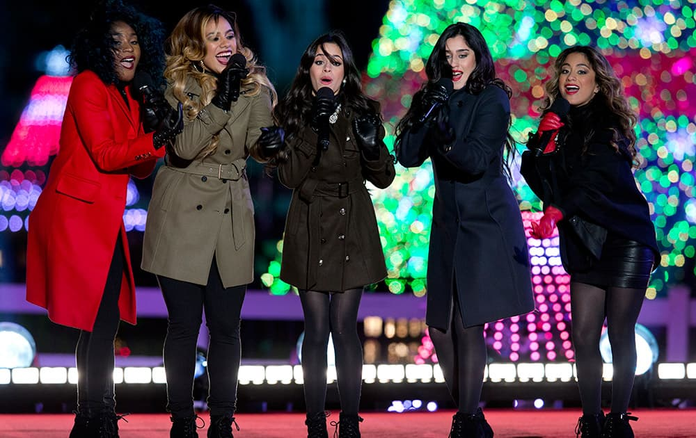 Fifth Harmony performs during the National Christmas Tree lighting ceremony at the Ellipse near the White House in Washington.