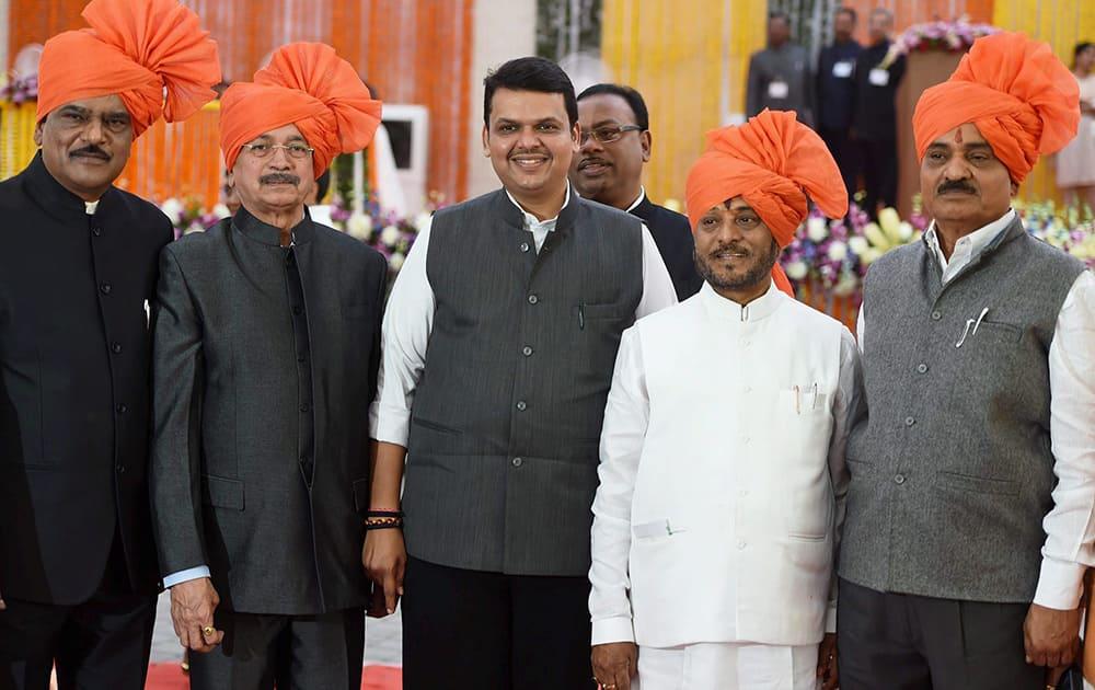 Maharashtra CM Devendra Fadnavis along with Shiv Sena ministers from left Deepak Sawant, Subhash Desai, Ramdas Kadam and Diwakar Raote during their Swearing in ceremony in Mumbai.