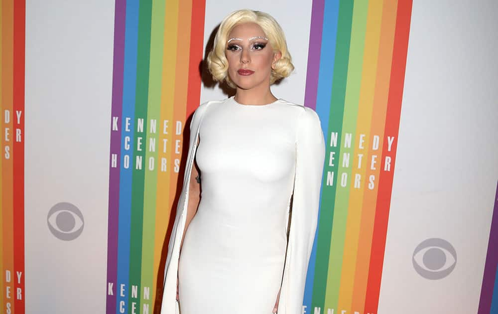 Lady Gaga attends the 37th Annual Kennedy Center Honors at The Kennedy Center Hall of States, in Washington.