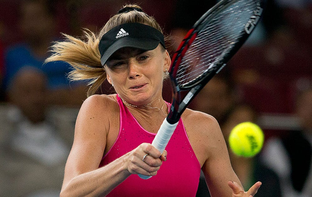 DBS Singapore Slammers' Daniela Hantuchova plays against Micromax Indian Aces player Ana Ivanovic, during the International Premier Tennis League, in New Delhi.