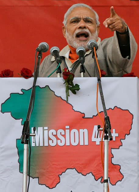Indian Prime Minister Narendra Modi speaks during a campaign rally ahead of local elections in Srinagar, Indian controlled Kashmir.