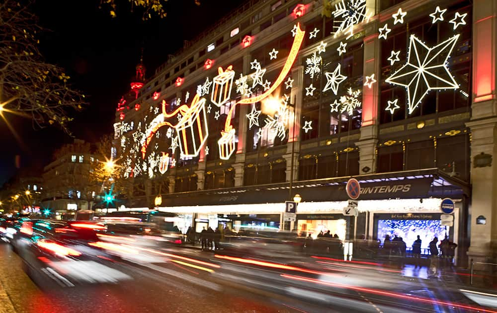 A view of Christmas illuminations of the Le Printemps department store, in Paris.