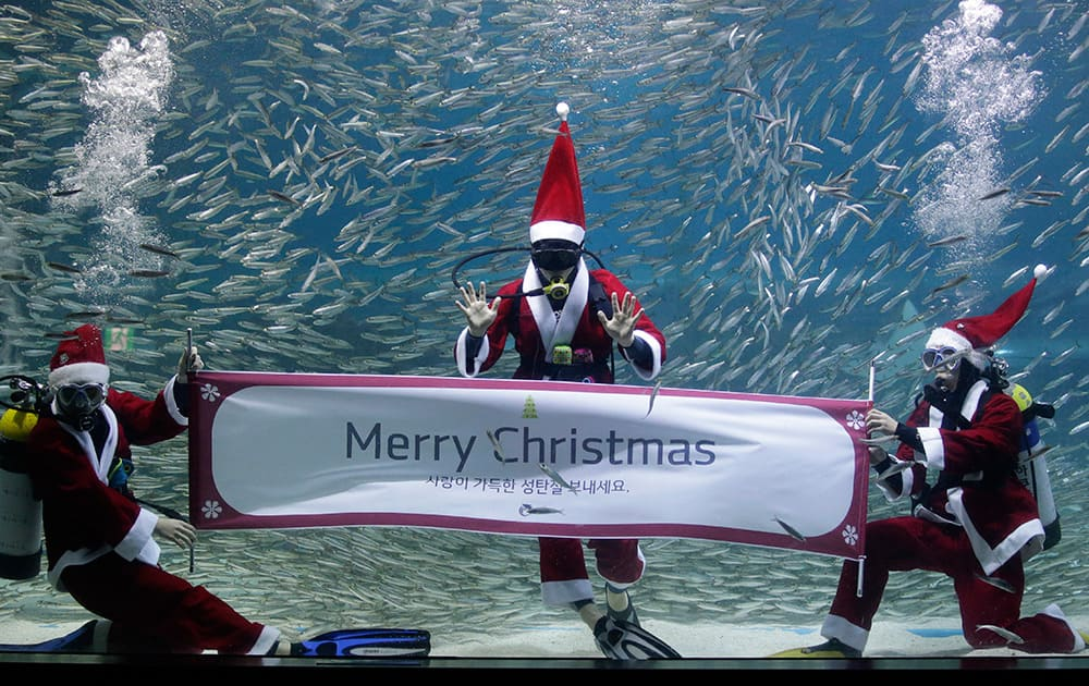 Dressed in a Santa Claus outfit, divers hold a banner to show visitors ahead of the upcoming Christmas at the Coex Aquarium in Seoul, South Korea.