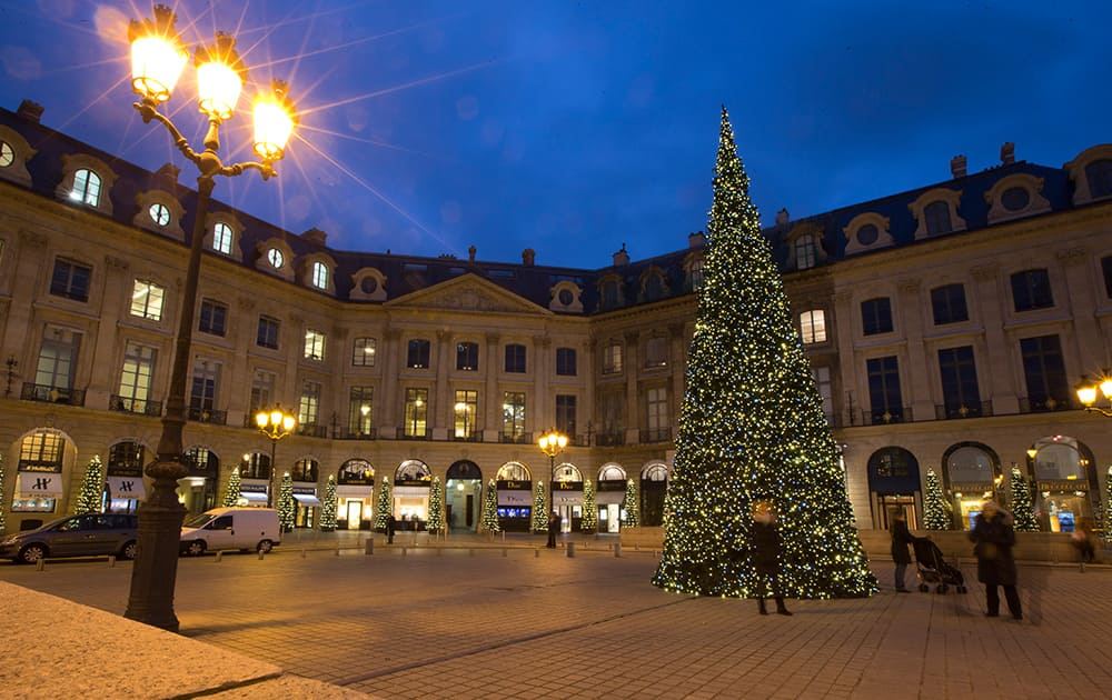 A giant Christmas tree is seen in the Place Vendome in Paris.