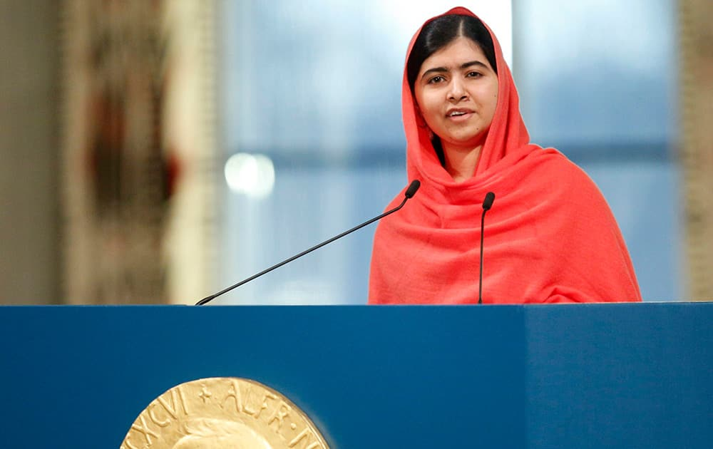 Nobel Peace Prize winner Malala Yousafzai, from Pakistan, makes an address after being awarded the Nobel Peace Prize during the Nobel Peace Prize award ceremony in Oslo, Norway
