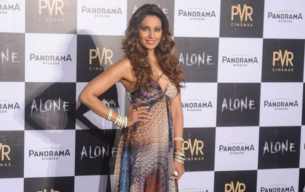 Bollywood actor Bipasha Basu during the trailer launch of her film Alone in Mumbai. -dna