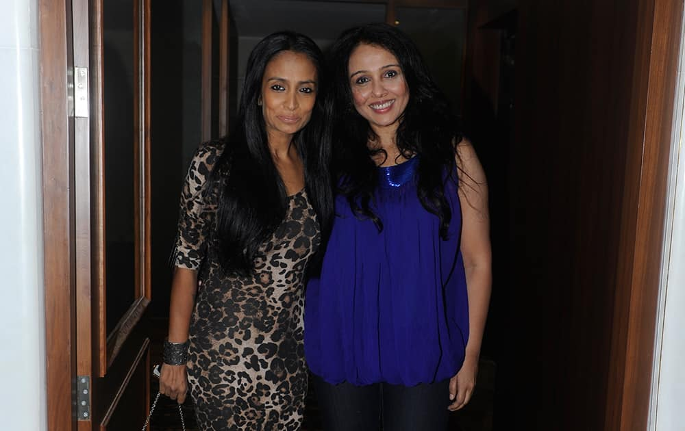 Suchitra Pillai and Suchitra Krishnamoorthi at a dinner hosted by Queenie Dhody in Mumbai. DNA