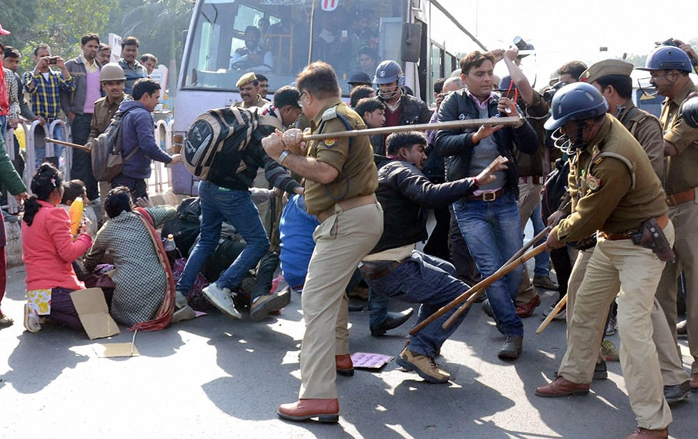 Police cane charge junior teachers who were staging a protest demanding issuance of appointment letter, in front of Uttar Pradesh Assembly in Lucknow.