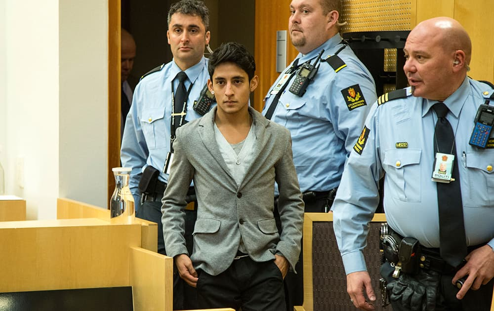 Mexican Adan Cortes Salas, arrives in court in Oslo, two days after he disturbed the Nobel Peace Prize awarding ceremony in Oslo City Hall.