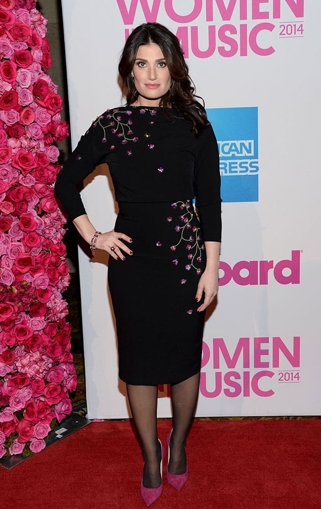 Idina Menzel attends the 2014 Billboard Women in Music luncheon at Cipriani Wall Street, in New York.