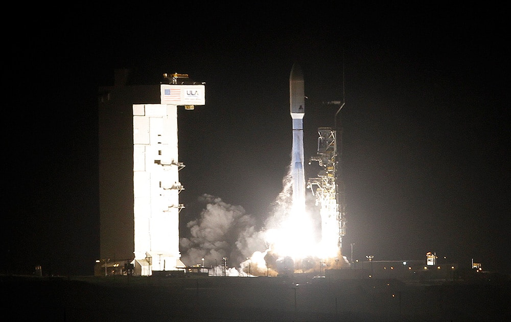 United Launch Alliance Atlas V rocket carrying a National Reconnaissance Office satellite launches from Space Launch Complex-3 at Vandenberg Air Force Base.
