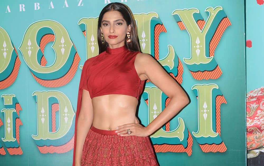 Sonam Kapoor at the launch of the trailer of her film 'Dolly Ki Doli' at PVR in Andheri. -dna