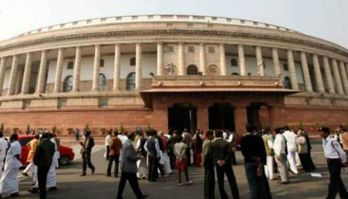 Saradha scam: Trinamool MPs protest outside Parliament