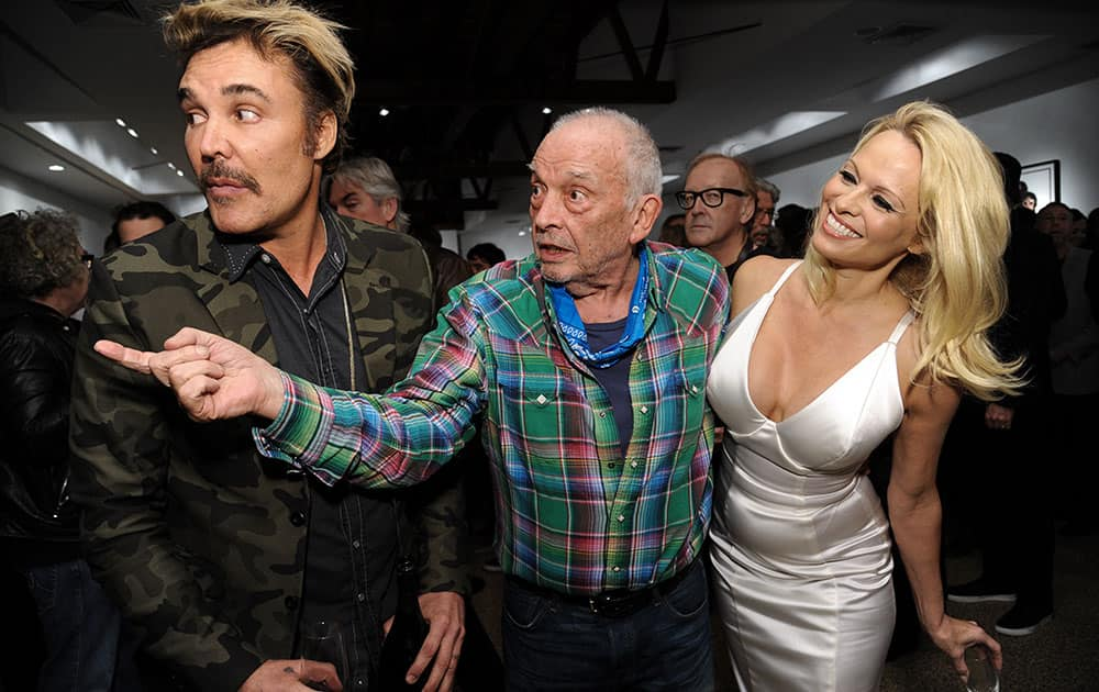 FROM LEFT, DAVID LACHAPELLE, DAVID BAILEY, AND PAMELA ANDERSON ATTEND DAVID BAILEY'S