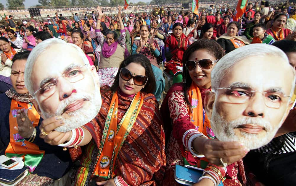 Supporters of Prime Minister Narendra Modi during his election rally in Jammu.