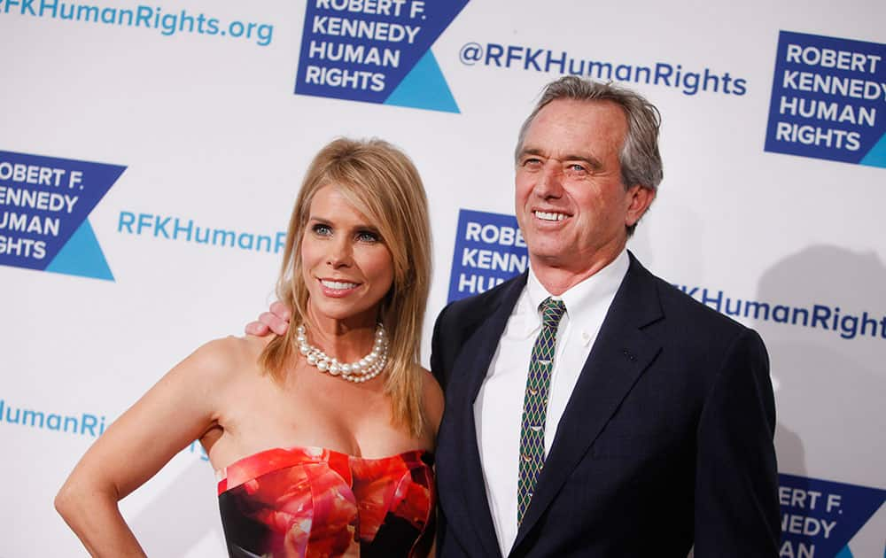 Activist Robert F. Kennedy, Jr. and his wife, actress Cheryl Hines, attend the Robert F. Kennedy Ripple of Hope Award ceremony, in New York.