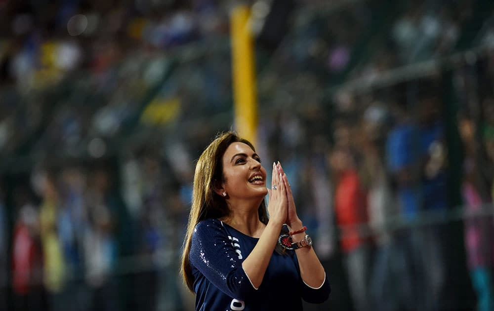 ISL Founding Chairperson Nita Ambani during the semi-final match between Chennaiyin FC and Kerala Blasters FC in Chennai.