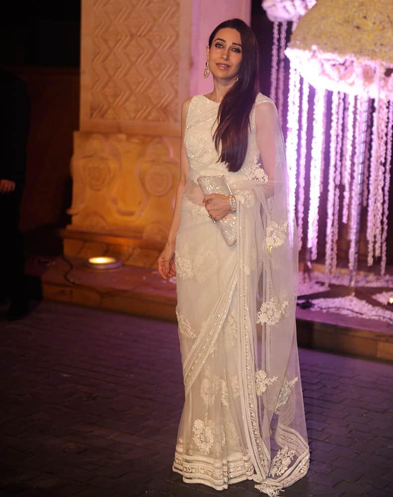 Bollywood actor Karisma Kapoor during Riddhi Malhotra and Tejas Talwalkar marriage reception in Mumbai.- dna