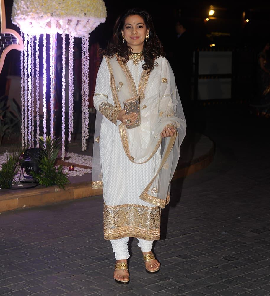Juhi Chawla during Riddhi Malhotra and Tejas Talwalkar marriage reception in Mumbai.- dna