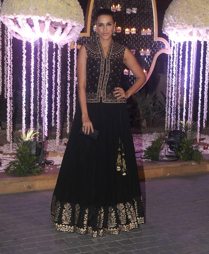 Neha Dhupia during Riddhi Malhotra and Tejas Talwalkar marriage reception in Mumbai.- dna