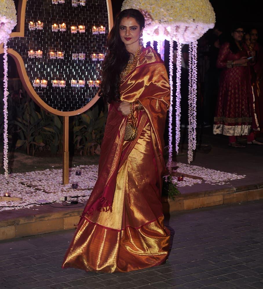 Rekha during Riddhi Malhotra and Tejas Talwalkar marriage reception in Mumbai.- dna