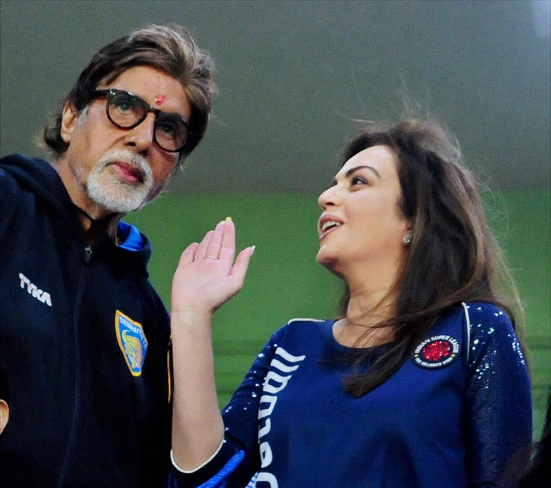 Bollywood actor Amitabh Bachchan with ISL founding chairperson Nita Ambani during a semifinal match of the Indian Super League in Chennai.