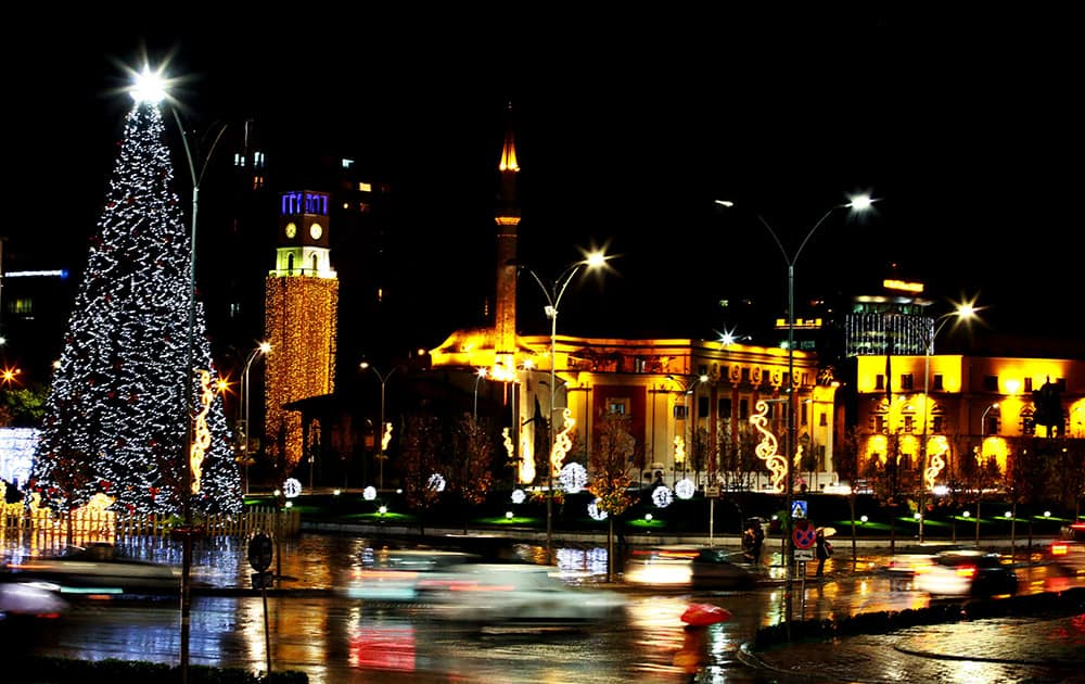A Christmas tree on display in Albania's capital main Skanderbeg Square decorated ahead of the Christmas and New Year festivities, both considered as the most popular holidays in the post-communist country, in Tirana, Albania.