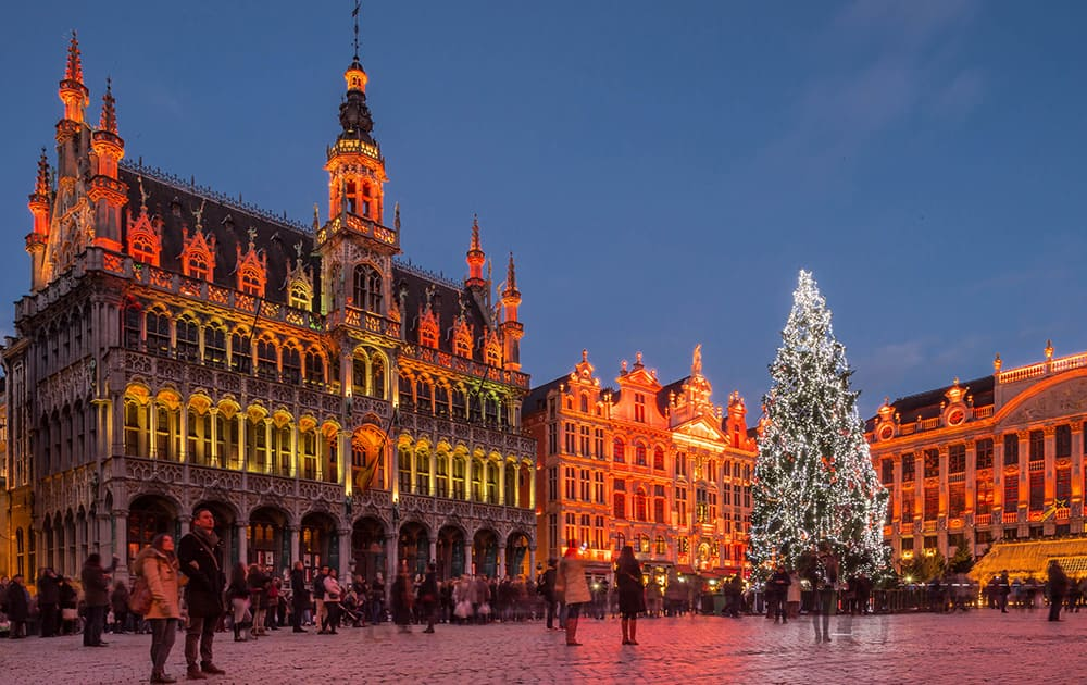 A giant Christmas tree and a light show decorate the Grand Place in Brussels.
