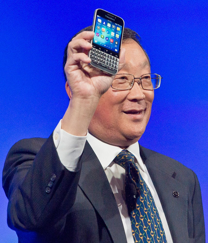 BlackBerry CEO John Chen introduces the company's new phone, the BlackBerry Classic, during a news conference, in New York.
