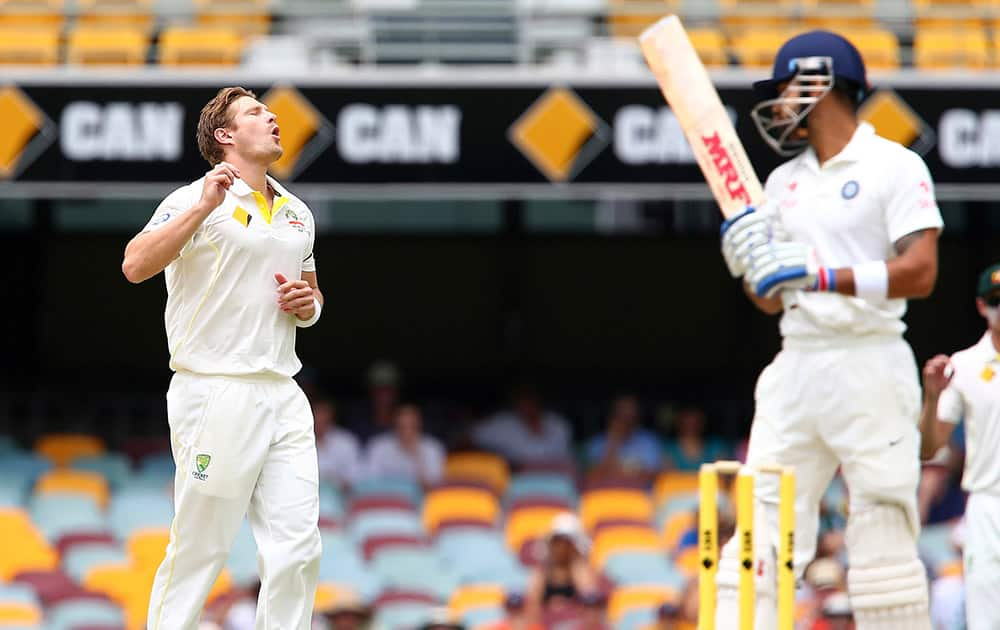 Australia's Shane Watson appeals for the wicket of Virat Kohli, during their match on day four of the second cricket test against India in Brisbane, Australia.