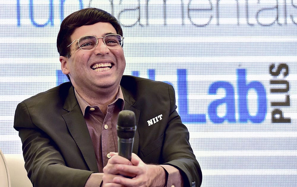 Five-time Chess Grandmaster Viswanathan Anand during the NIIT Math Lab Impact Study unveiling ceremony in New Delhi.