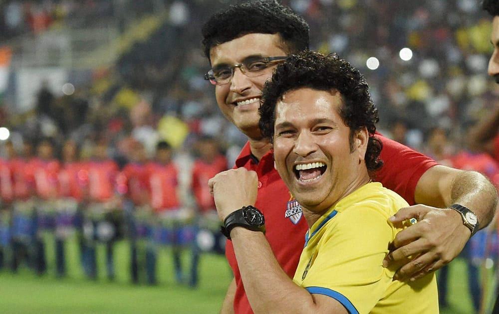 Kerala Blaster FC team owner Sachin Tendulkar along with Atletico De Kolkata owner Saurav Ganguly during the final match of Hero Indian Super League in Mumbai.