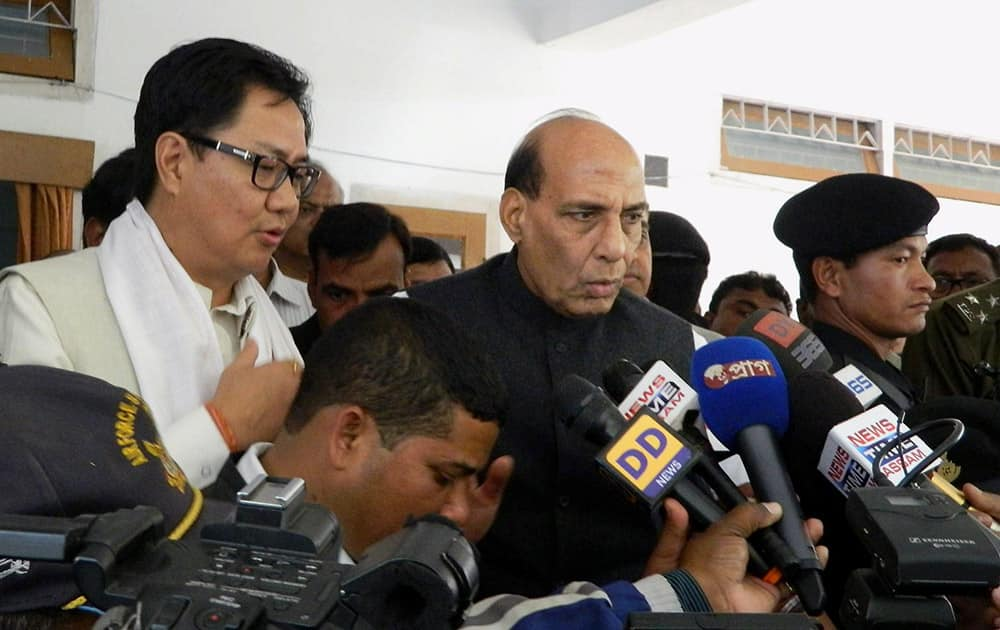 Union Home Minister Rajnath Singh addresses media during his visit at Biswanath Cahriali after NDFB attacks, in Sonitpur.