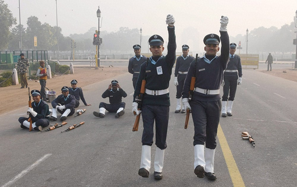 Air Force cadets during the Republic day rehersals.