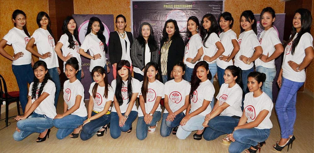 Models pose for a photograph who are going to take part for the Grand Finale of Season 7, Pond's Eclectic Model Hunt, in Guwahati.
