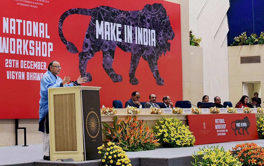 Finance Minister Arun Jaitley addressing at the National Workshop on Make in India, in New Delhi.