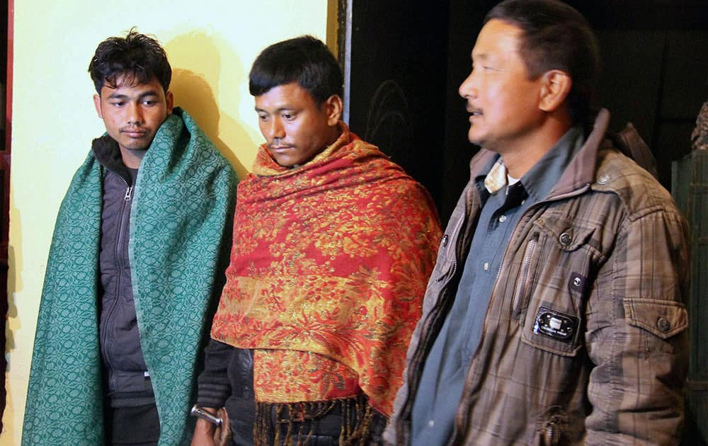 Three NDFB(S) militants arrested with arms and ammunition during all-out operation against Bodo militants at Srirampur in Kokrajhar district of Assam.