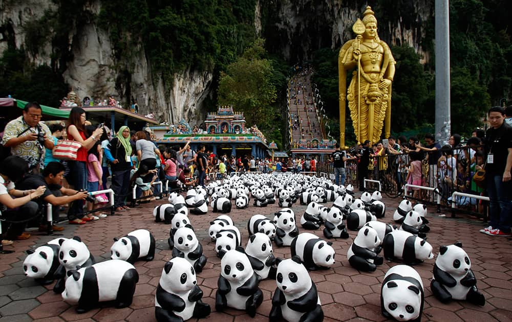 Part of the 1,600 paper pandas, created by French artist Paulo Grangeon, are displayed in front of a giant statue of Lord Murugan during the month-long '1600 Pandas World Tour' at Batu Caves in Kuala Lumpur, Malaysia.