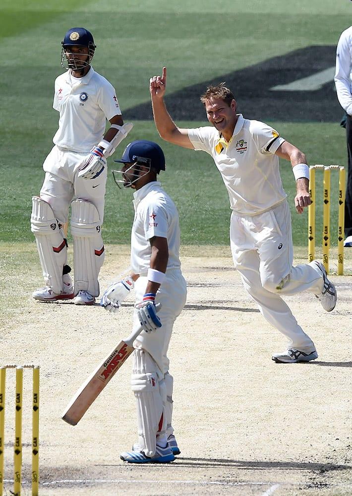 Australia's Ryan Harris, celebrates taking the wicket of India's Virat Kohli, for 54 runs on the final day of their cricket test match in Melbourne, Australia.