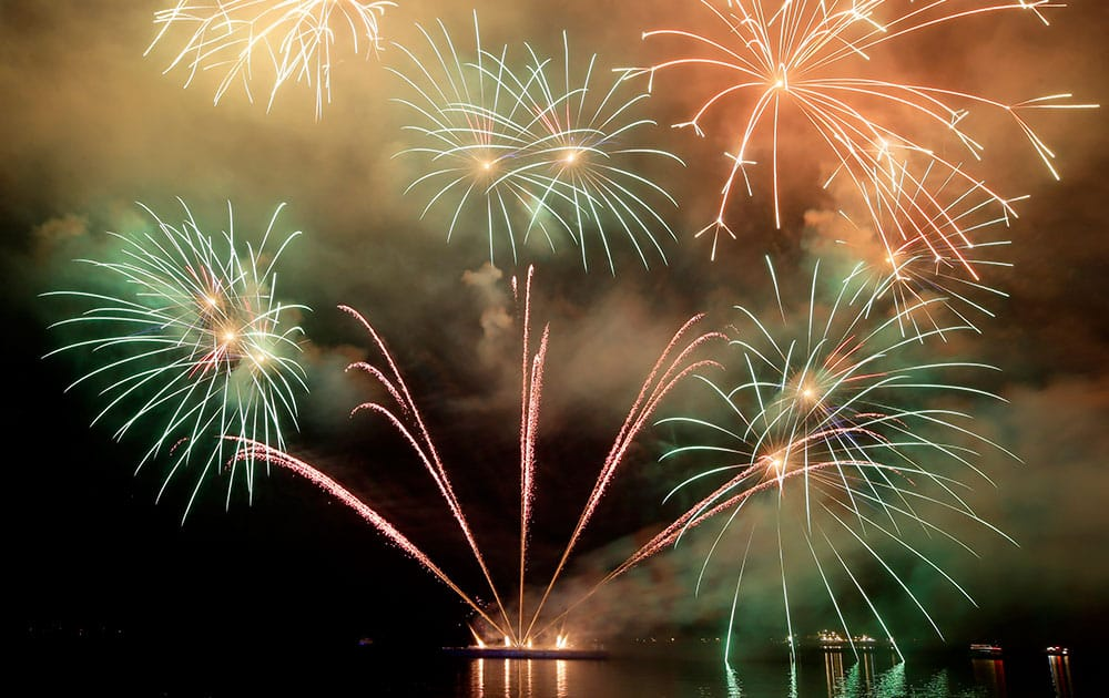 Fireworks light up the sky as Filipinos welcome the New Year, in Manila, Philippines.