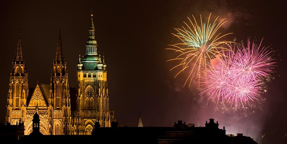 Fireworks light the sky above Prague Castle during New Year's celebrations in Prague, Czech Republic.