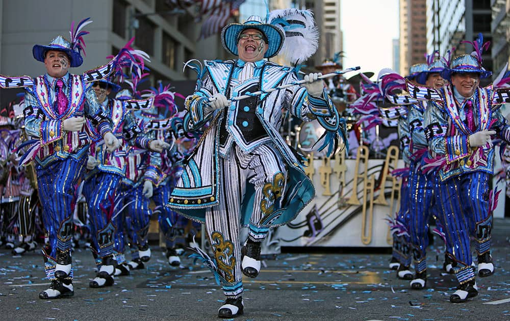 Members of the Aqua String Band perform during the 115th annual Mummers Parade in Philadelphia.