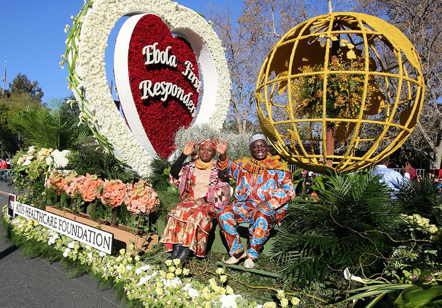 The AIDS Healthcare Foundation float, 'Protecting Global Health,' appears in the 126th Rose Parade in Pasadena, Calif.