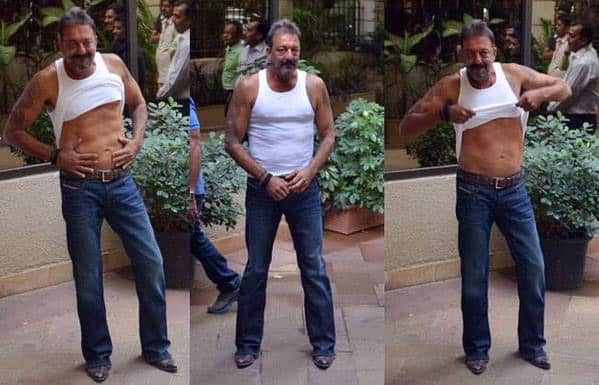 After coming out from jail, #SanjayDutt showed his 6-pack abs. - Twitter