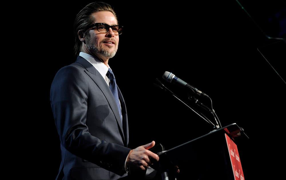 Brad Pitt presents the breakthrough performance award - actor at the 26th annual Palm Springs International Film Festival Awards Gala.