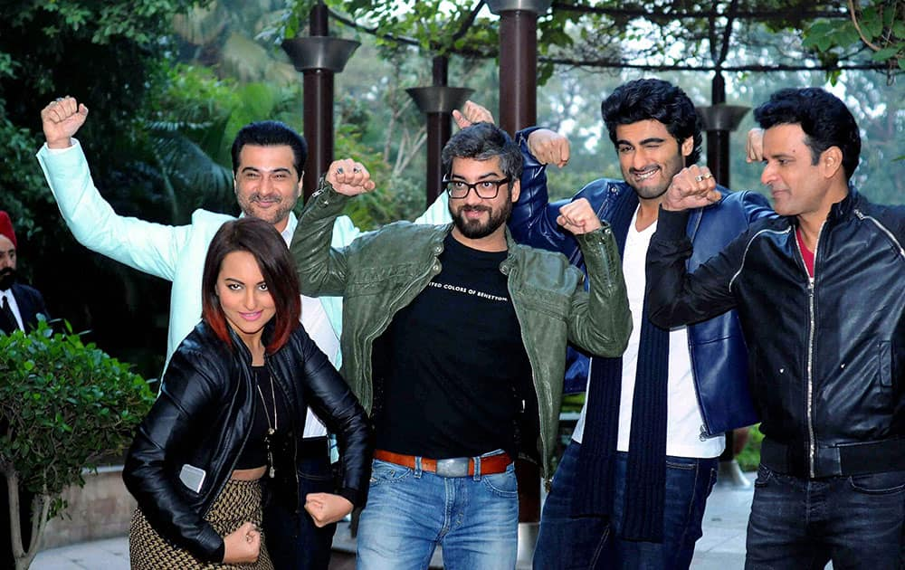 Bollywood actors Sonakshi Sinha, Sanjay Kapoor, Arjun Kapoor and Manoj Bajpai at a promotional event in New Delhi.