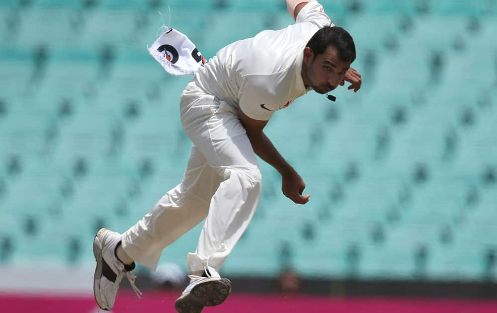 India's Mohammad Shami bowls to Australia during their cricket test match in Sydney.